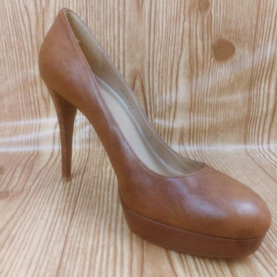 Stuart Weitzman Leather Round Toe Tan Platforms
