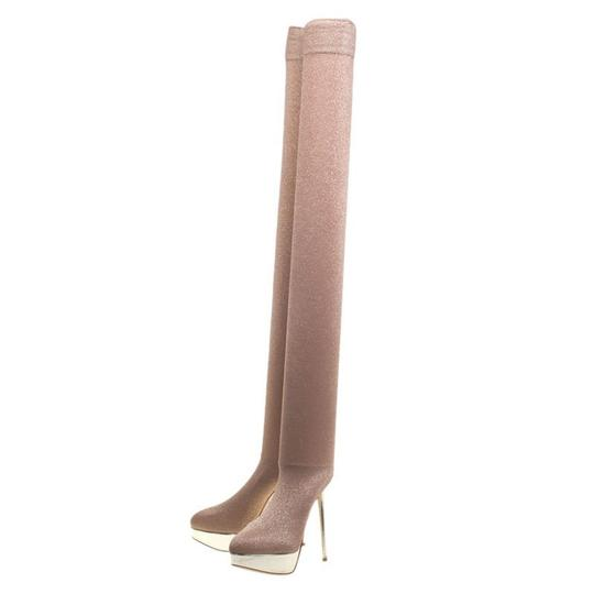 Preload https://img-static.tradesy.com/item/23917681/charlotte-olympia-beige-glitter-jersey-more-is-more-thigh-high-platform-boots-sneakers-size-eu-40-ap-0-0-540-540.jpg