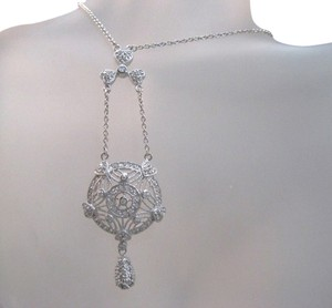 Sterling Silver vintage design filigree CZ round drop choker necklace