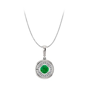 DesignerByVeronica Fantastic Emerald and CZ Circle Halo Pendant in Silver
