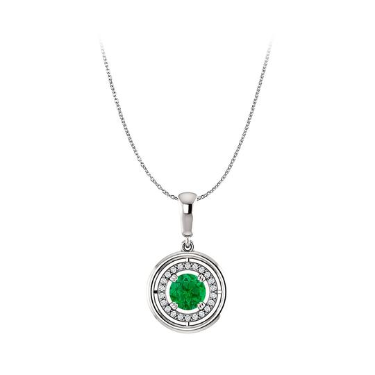 Preload https://img-static.tradesy.com/item/23917703/green-fantastic-emerald-and-cz-circle-halo-pendant-in-silver-necklace-0-0-540-540.jpg