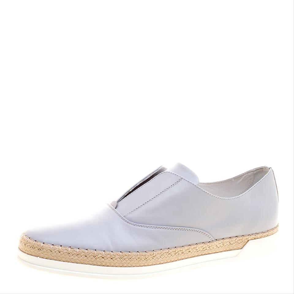 Sneakers Espadrille Slip Grey Francesina Tod's On Flats Leather 8OwqY
