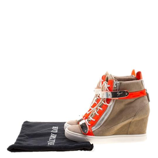Preload https://item3.tradesy.com/images/giuseppe-zanotti-beige-suede-and-fluorescent-orange-patent-leather-wedge-sneakers-sneakers-size-eu-4-23917737-0-0.jpg?width=440&height=440