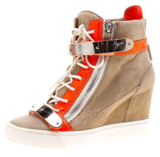 Preload https://img-static.tradesy.com/item/23917737/giuseppe-zanotti-beige-suede-and-fluorescent-orange-patent-leather-wedge-sneakers-sneakers-size-eu-4-0-2-540-540.jpg