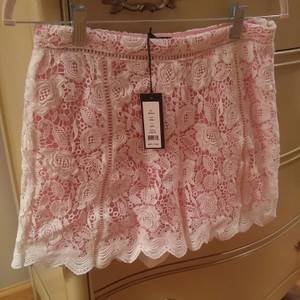 Romeo & Juliet Couture Lace Dress Shorts Pink & White
