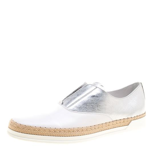 Preload https://item1.tradesy.com/images/tod-s-white-metallic-silver-and-leather-francesina-espadrille-slip-on-flats-size-eu-375-approx-us-75-23917775-0-0.jpg?width=440&height=440
