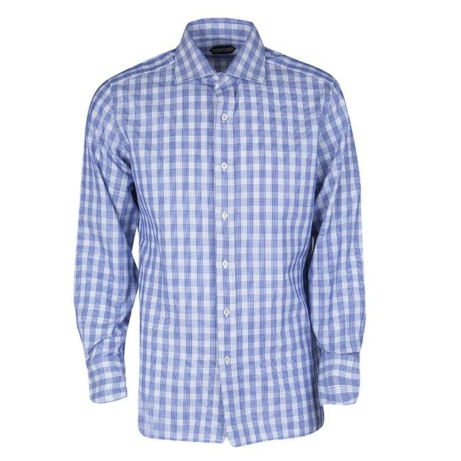 Preload https://img-static.tradesy.com/item/23917779/tom-ford-blue-and-white-checked-cotton-long-sleeve-shirt-xl-button-down-top-size-16-xl-plus-0x-0-0-650-650.jpg
