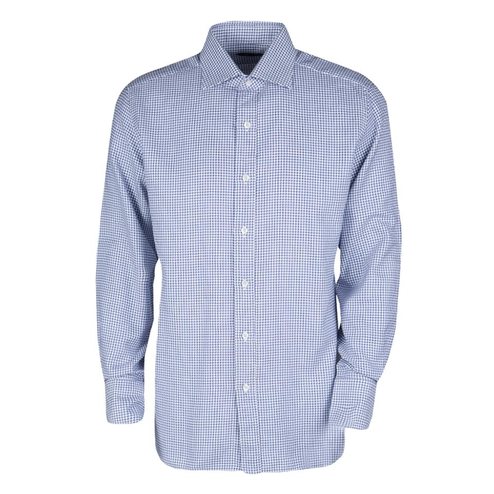 8cbcf3dc36f Tom Ford Blue And White Cotton Houndstooth Pattern Long Sleeve Shirt X  Button-down Top
