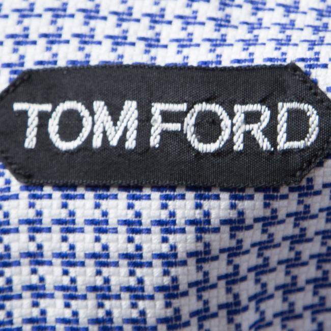 Tom Ford Cotton Houndstooth Longsleeve Button Down Shirt Blue