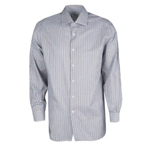 Brioni Striped Cotton Longsleeve Button Down Shirt Multicolor