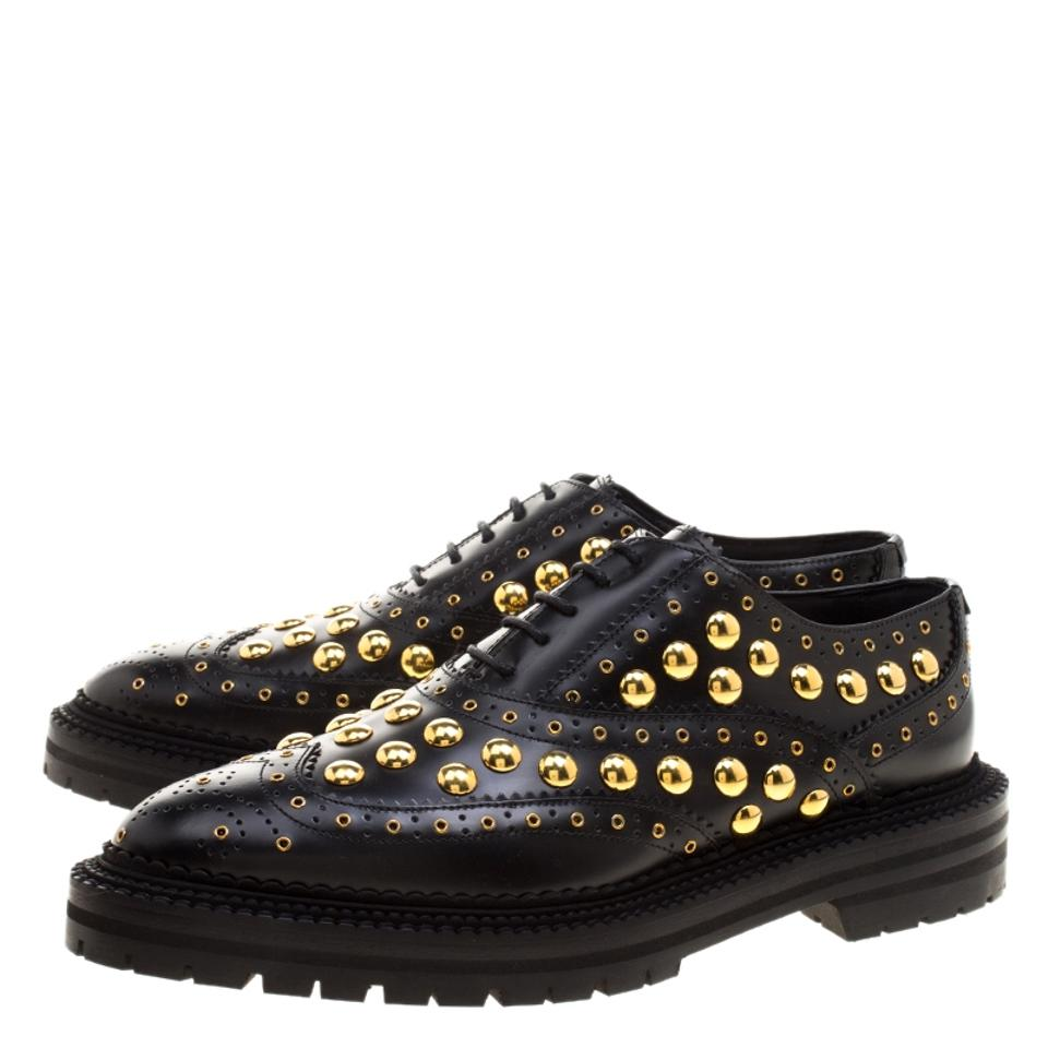 Burberry Studded Black Leather Platform Flats Deardown Oxfords RrZzFR