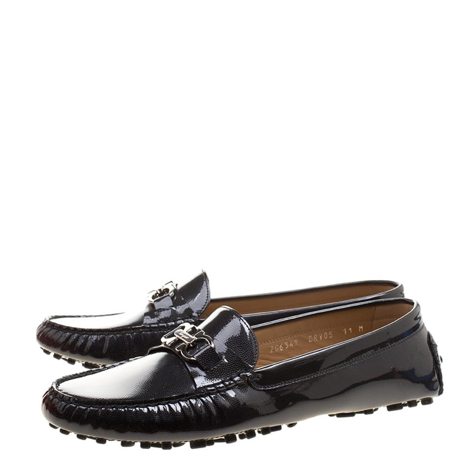 Flats Saba Pebbled Salvatore Patent Loafers Leather Black Ferragamo xqHxRwn7B