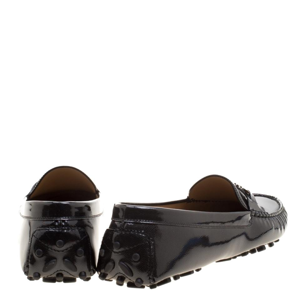 Patent Ferragamo Saba Leather Black Salvatore Pebbled Flats Loafers OcaABcS