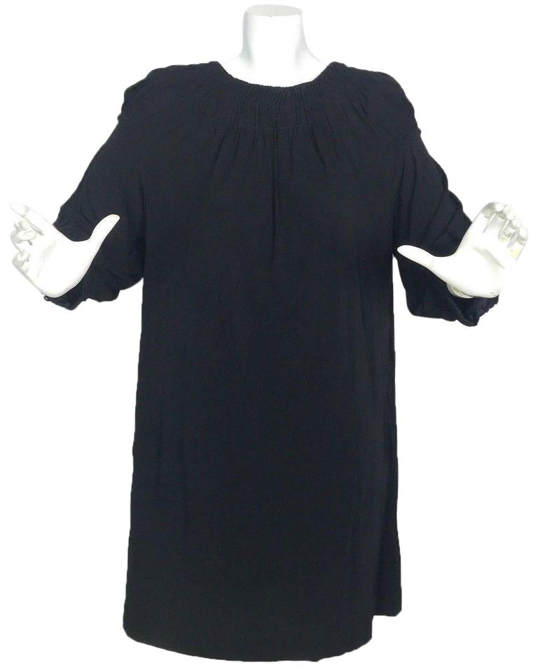 24102156fbe89 Vince Black Tunic Shift Stitched Neckline Cuffs Rayon Mid-length ...