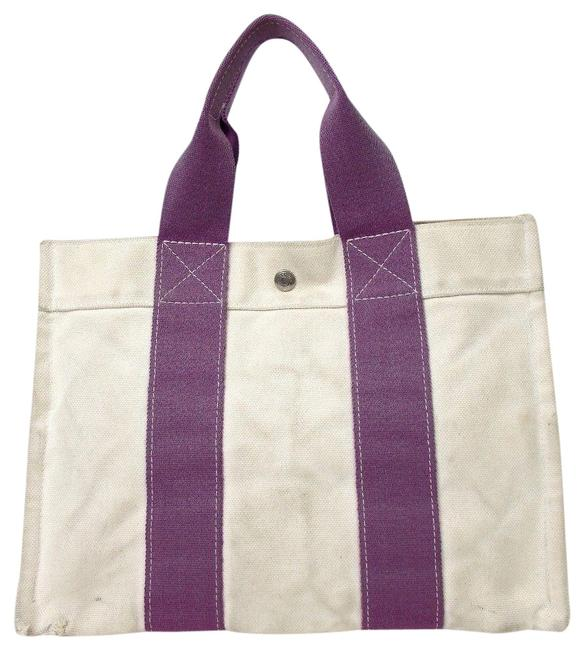 Item - Bora Bora Pm Ivory Purple Canvas Tote