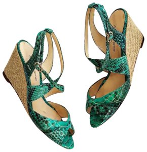 Alexandre Birman Green, tan Wedges