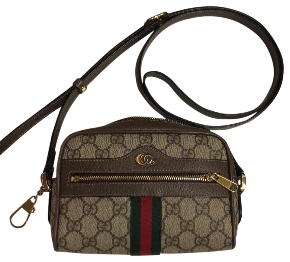 f19f6f5fd4c3 Gucci Mini Ophidia Gg Supreme 2018 Brown Leather & Coated Canvas Cross Body  Bag