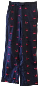 Lilly Pulitzer Whale Blue Nautical Straight Pants Navy/Pink