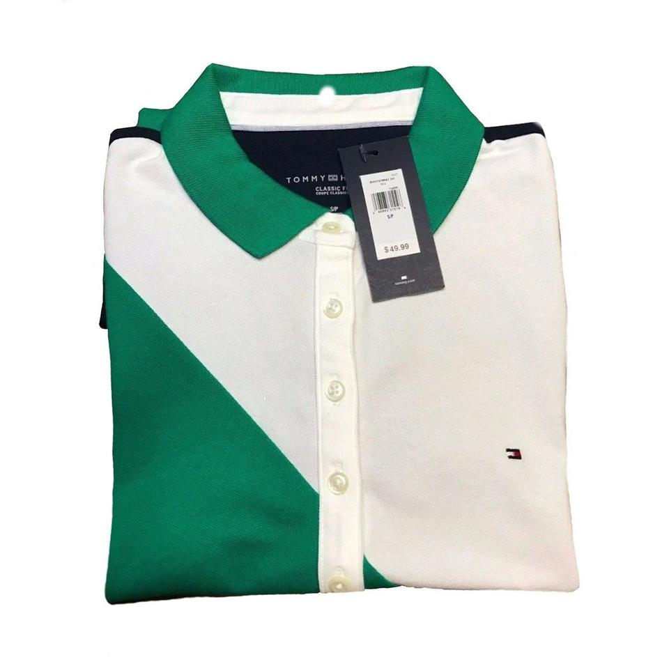 544c79eb9bc91 Tommy Hilfiger Green White Dark Blue Women s Green White Polo Shirt  Button-down Top