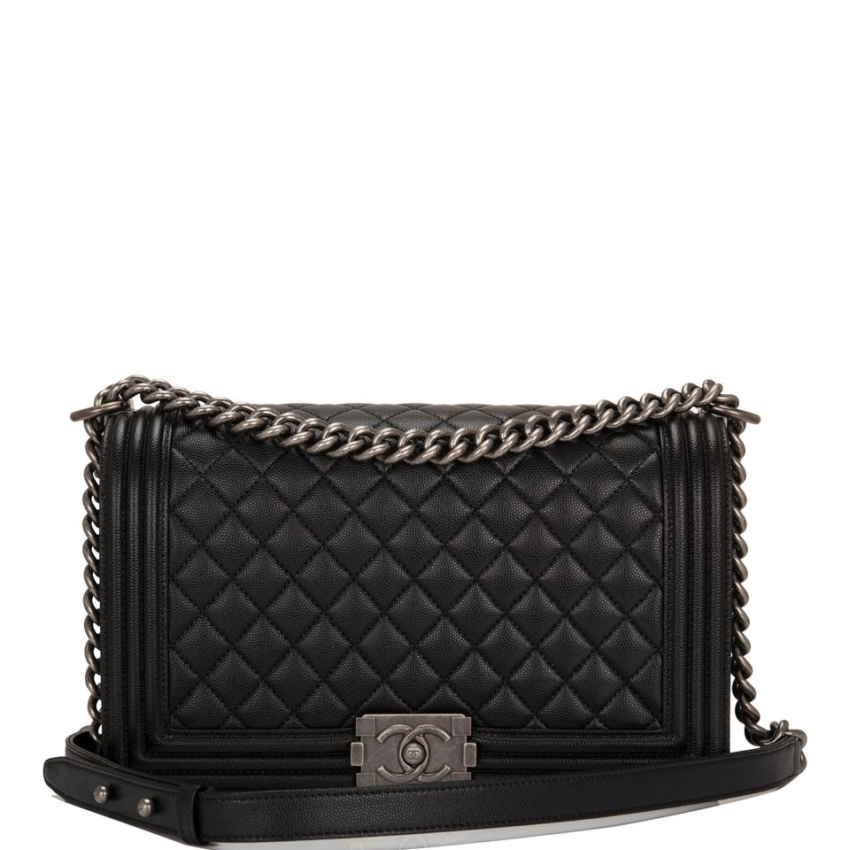 204044367f4 Chanel Boy Quilted Caviar New Medium Black Leather Shoulder Bag ...