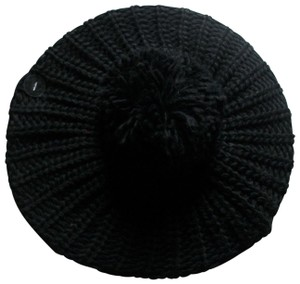 Mixit Classic Style Black Knit Beret With Large Pom MixIt