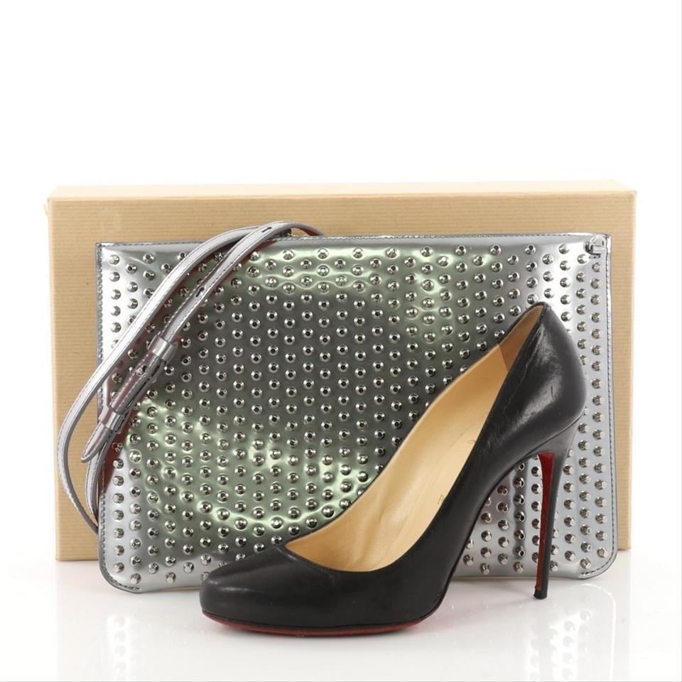 Leather Spiked Loubiposh Silver Clutch Christian Louboutin WAqOwnPqSf