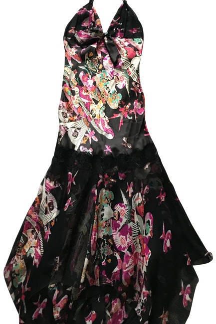 Item - Black Silk Halter with Colorful Print Cocktail Dress Size 0 (XS)