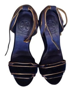 Tory Burch Navy and gold Platforms