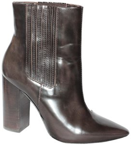 Pour La Victoire Chunky Heel Pointy Toe Leather Ankle Chelsea Brown Boots
