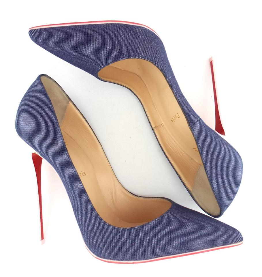 Pumps Pointed Louboutin Baby Pink Toe Denim Heel Christian Blue 8vtwO