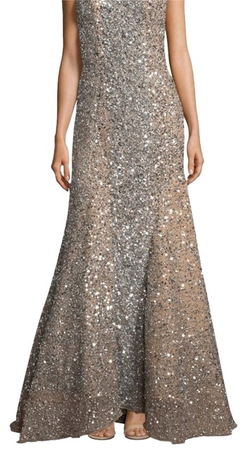 Item - Nude/ Silver With Sequins Long Formal Dress Size 10 (M)