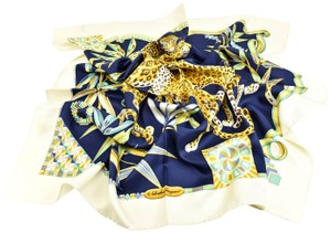 "Salvatore Ferragamo ""Leopards"" 100% Silk Foulard 34"" x 34"" (p)"