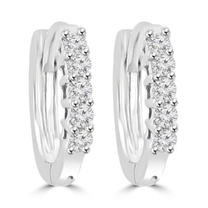 Madina Jewelry White 0.25 Ct Ladies Round Cut Diamond Hoop Huggie In 14 Kt Earrings