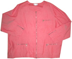 Blair Full Zip Chambray Cotton Long Sleeve Top Red