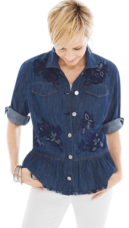 d5c4cf0f1d Chico s Blue Embroidered Feminine Jacket Size 12 (L) - Tradesy