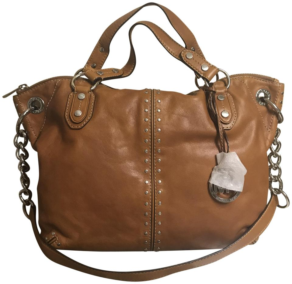 184a66c57b9e Michael Kors Stud Studs Large Shoulder Satchel Tote in Luggage Brown Silver  Image 0 ...