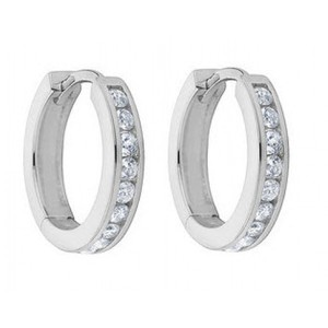 Madina Jewelry White 1.00 Ct Ladies Round Cut Diamond Hoop Huggie Earrings