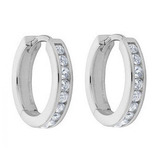 Item - White 1.00 Ct Ladies Round Cut Diamond Hoop Huggie Earrings