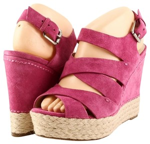 Michael Kors Espadrille Wedge Suede Electric Pink Platforms