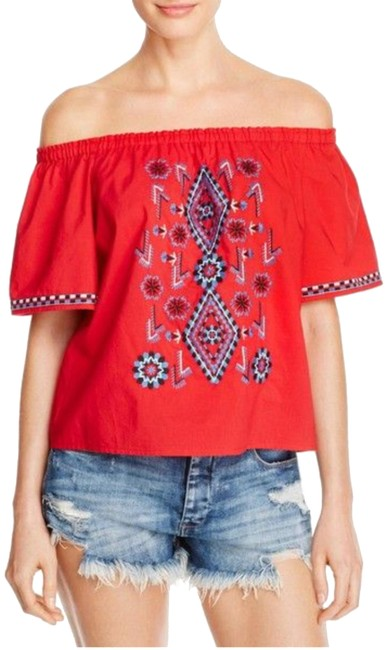 Item - Red Embroidered Off The Shoulder Blouse Size 4 (S)