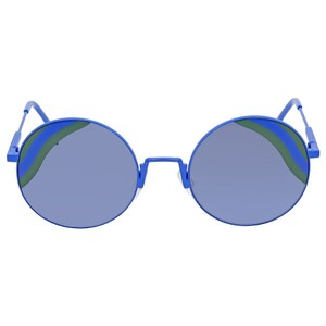 Fendi NEW Fendi 0248S Blue Round Green Striped Lens Sunglasses