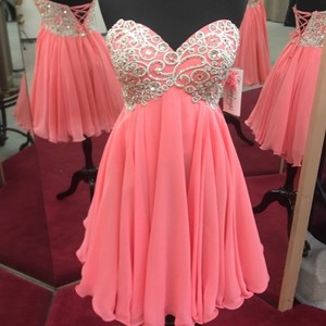 Evenings By Allure Peach Ombre Chiffon A408 Formal Bridesmaid/Mob Dress Size 4 (S)