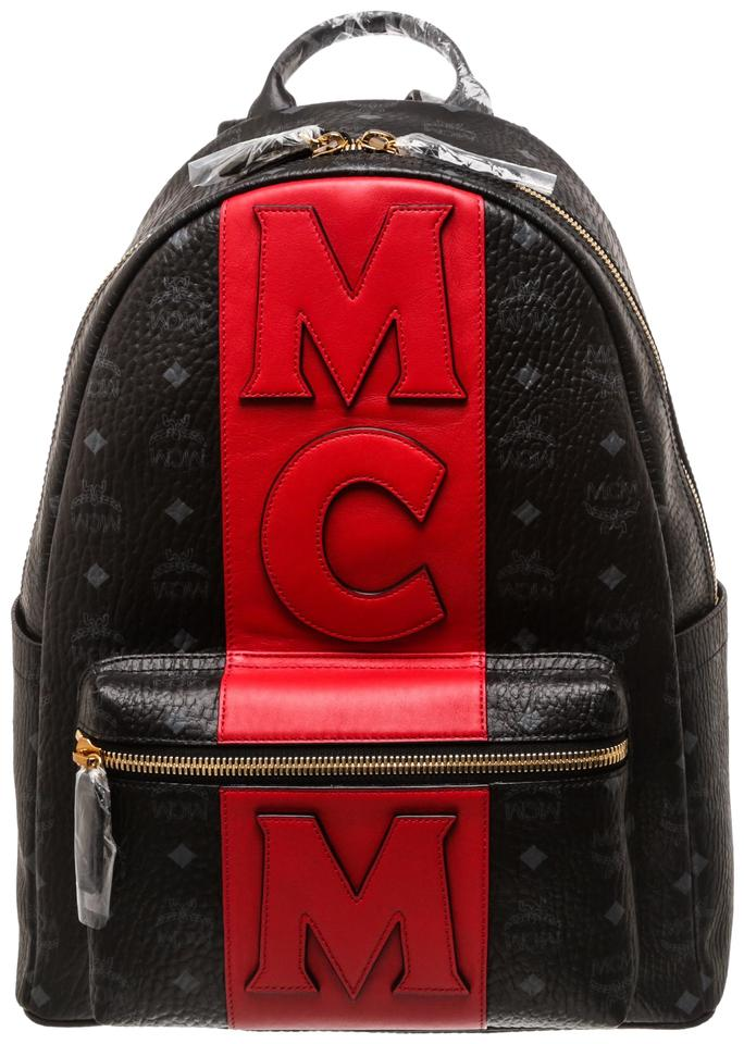 d84c71d71341b4 MCM Black Red Visetos Stark Logo Stripe Backpack - Tradesy