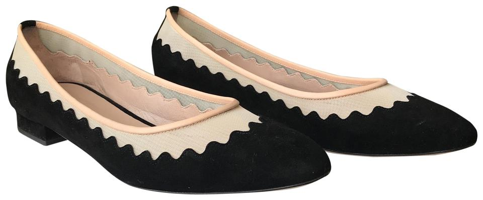 Chloé Black and Nude Scalloped Flats Ch23040 Flats Scalloped 9442ab