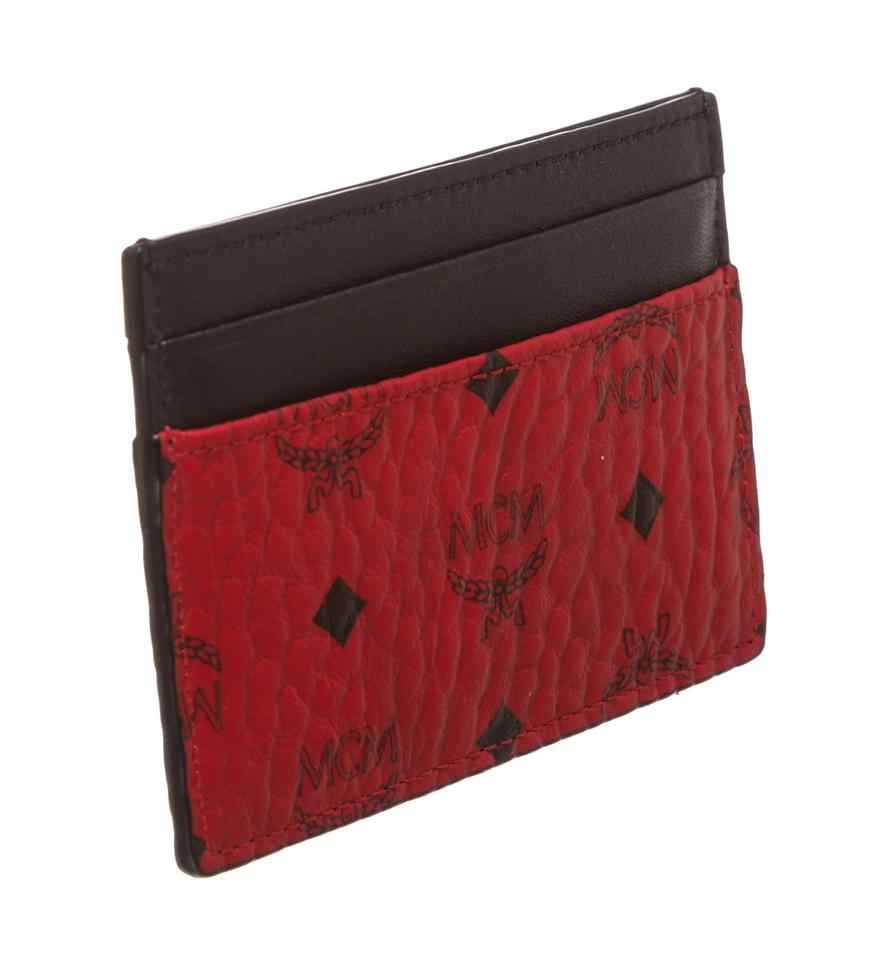 new arrival e388f 389ca MCM Red Black Visetos Coated Canvas Card Holder Case Wallet 56% off retail