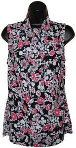 Style & Co Flower Sleeveless Stretchy Polyester Machine Washable Top Black, White & Pink