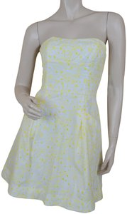 Lilly Pulitzer short dress Yellow Strapless Eyelet Cotton Whimsical Print on Tradesy