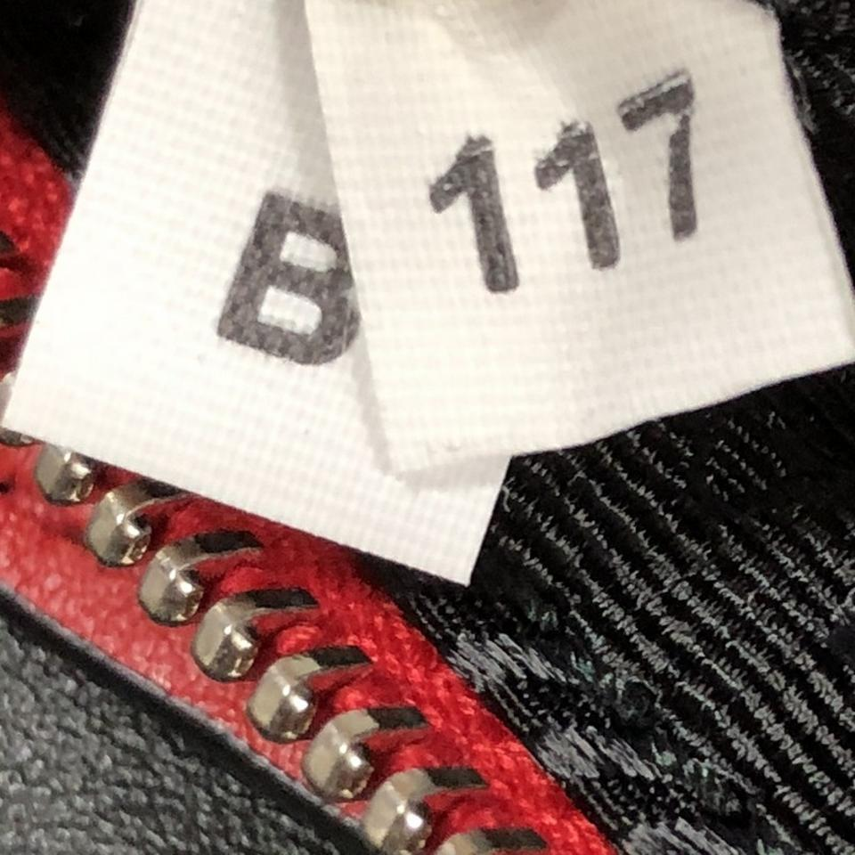 ddf355dff9 Prada City Fori Chain Perforated Small Black Red Calfskin Leather ...