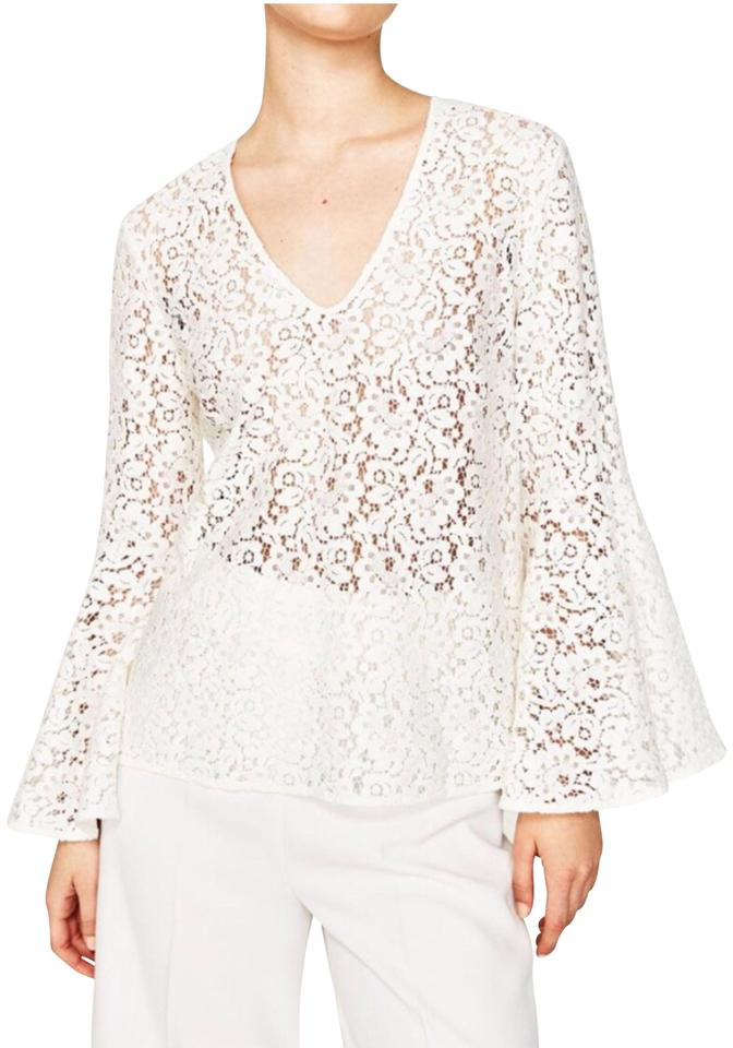 18d47a4f Zara White Lace Bell Sleeve Blouse Size 4 (S) - Tradesy