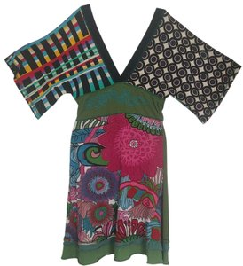 Desigual short dress Multicolored, green, white, black, pink and red on Tradesy